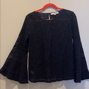Loft size M blue lace, bell sleeve top